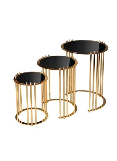 Fidex Home Fidex Home Stil Metal Zigon 3'lü Sehpa Gold Renkli